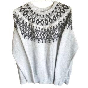 NANETTE LEPORE Gray Metallic Thread Wool Blend Fair Isle Sweater